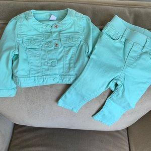 Gap Seafoam Green 2-Piece Outfit size 6-12 months